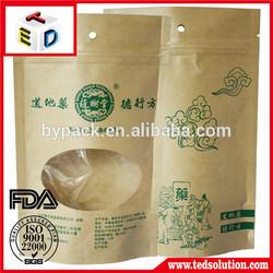 With window doypack kraft paper packaging bag