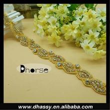 Wholesale Gold Base Rhinestone Fancy Belt Decorations for Evening Dresses DH-1360