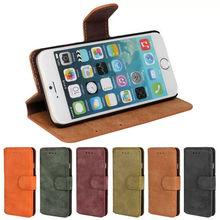 Retro Matte PU Leather Flip Wallet Case For iPhone 6