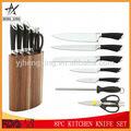 8pc punho oco de aço inoxidável faca de cozinha conjunto com suporte de madeira