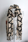 Wholesale cheap fashion crinkled print long soft eco-friendly viscose knitted tassel shawls for women