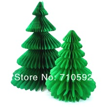 Honeycomb paper green tree table Christmas decorations