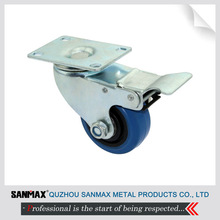 """Reliable 3"""" industrial medium duty caster blue rubber caster with total lock 1123G2-XT-TL"""