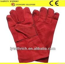 "14"" long sleeved cow split leather TIG welding gloves"