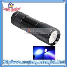 9 LED Purple Light Aluminum UV LED Torch Black