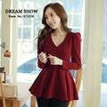 frete grátis topos das mulheres da moda 2014 nova outono blusas estilo coreano manga sexy v do pescoço vermelho babados slim fit camisa 8048