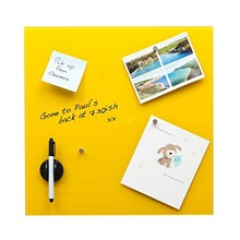 Glass Magnetic Memo Board (40cm x 40cm) with magnets, magnetic eraser and dry wipe ink pen. (Yellow)