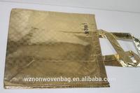 Manufacture 90g non wove fabric metallic shopping bag for garment