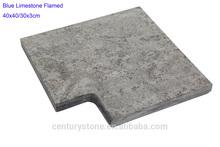 40x40/30x3cm flamed bullnose blue limestone pool coping