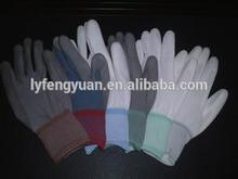 2014 popular design safety PU gloves with 13 gauge nylon liner