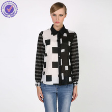 2015 Spring summer high fasion black and white check pattern silk tops shirt