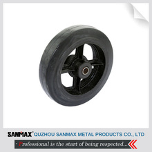 High quality 8 inch heavy duty black iron hub and rubber tread caster wheel solo wheel 3-XZ-8 with ball bearings
