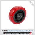 De alta calidad de 6 pulgadas pesado negro cubo de la rueda y de color rojo oscuro de la pu recubierto de goma de la rueda de la rueda en solitario 3-hh-6