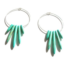 E021 Cheap Druzy Crystal with Silver Plated Turquoise Hoop Earrings