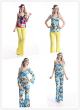 Sexy Womens Ladies 60s 70s Retro Hippie Hippy Fancy Dress Costumes Party Made in China