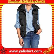Fashionable wholesale cheap black nylon quilted sleeveless korea women winter coat 2014