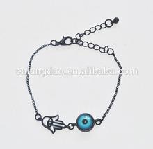 retro exquisite devil eye and palm charm black chain bracelet