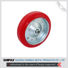 """Korean style 6"""" iron hub and red PU casting caster wheel solo wheel 4-PZH-6"""