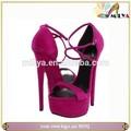 Nude/roxo super alta casamento strappy sapatos fivela stiletto alta sandálias de salto plataforma sandálias da senhora!