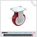 """Confiable 5"""" heavy duty de tipo rígido blanco cubo de la rueda de color rojo y de la pu recubierto de goma con ruedas de acero inoxidable horcas/rastrillos 12351ss-bh"""