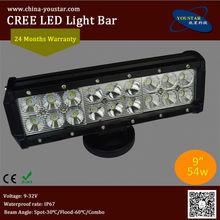 WL-54WC cheap 9 inch cree car led dual row light bar 54w offroad light bar