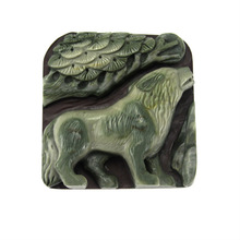 "2.48"" hand Carved Ribbon Jasper Jade wild Animal Wolf gemstone Pendant"