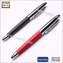 small body and smoothly writing ball pen 2014 leather pen