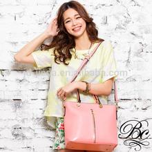 Ranking pink cutey ladies leather tote bag handbag
