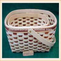 Wholesale Oval Handmade Bamboo Fruit Basket with Hooped Handle