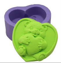 cute funny bear heart shape soap mold silicone