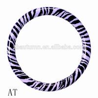 purple&black zebra car steering wheel cover