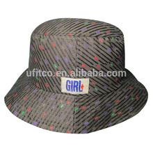 2015 high quality hot sale plastic printing grey woven label custom design popular bucket hat manufacturer