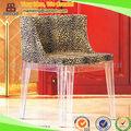 ( sp- ac129) la tela de moda mueblesdelhotel silla de leopardo con el cristal de la pierna