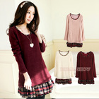 WOMEN Dress Autumn 2014 Korean New Fashion Knitted Patchwork Plaid Long Sleeve Cute Casual Pleated Dresses Red/Pink/White 8062