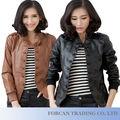 Design simples e moda feminina jaquetas de tamanho grande m-5xl decoração botão slim fit confortável senhora jaqueta de couro pu yp01013