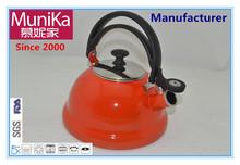 enamel carbon steel red whistle tea pot kettle /ORANGE ENAMEL WHISTLE KETTLE 3L, INDUCTION WHISTLE TEA KETTLE ENAML IRON TEAPOT