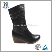 Newest design Sparkle black platform boots warm winter lady shoe