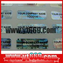 Serial Number on Hologram Sticker