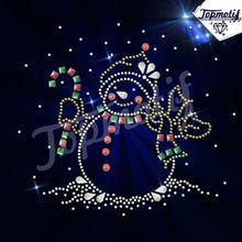 Christmas Snowman Hotfix rhinestone transfer Applique motif design for garment