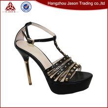 New arrival unique design slim high heel punk rivet lady dress shoe