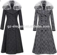 elegant wool coat with fur collar for women,Apparel factories women winter long coats wool coat