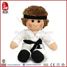 Custom rag doll taekwondo uniform doll toy karate boy plush toy doll for boy or girl