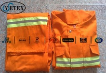 YSETEX two pieces Industry reflective work safety coverall,firefighting uniform in hi-vis orange