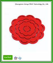 Specially designed hollow out pattern with red flower shape cup coaster - polyester made