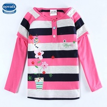 (F5610) 2014 children clothing flower embroidered long sleeve baby girl t shirt with 100% cotton