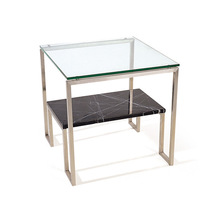 Two layers metal frame square natural marble stone coffee table for living room