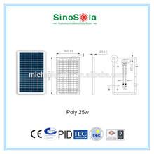 25W poly PV Solar panel with IEC,TUV,CE,CEC,CQC,PID.cert