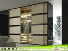 2014 New Design Enverionmental Sliding Wardrobe Wooden Door with Aluminium Profile
