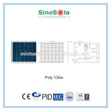 130W poly PV Solar panel with IEC,TUV,CE,CEC,CQC,PID.cert