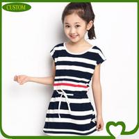 Wholesale custom short sleeve 100 cotton striped girl dress